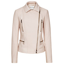 Buy Reiss Mona Textured Leather Jacket, Pink Online at johnlewis.com