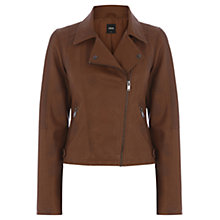 Buy Oasis Faux Leather Biker Jacket, Tan Online at johnlewis.com
