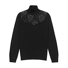 Buy Reiss Merino Wool Lace Detail Roll Neck Jumper, Black Online at johnlewis.com
