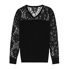 Buy Reiss Chloe Floral Lace Jumper, Black Online at johnlewis.com