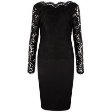 Buy Ted Baker Lace Top Fitted Dress, Black Online at johnlewis.com