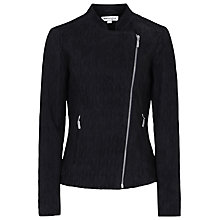 Buy Reiss 1971 Merlot Textured Goat Leather Suede Bomber Jacket, Blue / Black Online at johnlewis.com