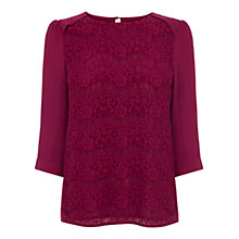 Buy Oasis Lace Front Drape Sleeve Top, Burgundy Online at johnlewis.com