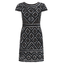 Buy Adrianna Papell Cap Sleeve Bead Dress, Gunmetal Online at johnlewis.com