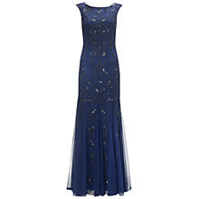 Buy Adrianna Papell Cap Sleeve Bead Dress, Deep Violet Online at johnlewis.com