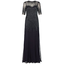 Buy Adrianna Papell Long Beaded Gown, Midnight Blue Online at johnlewis.com