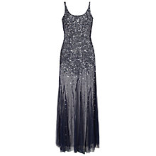 Buy Adrianna Papell Beaded Mesh Tank Gown, Silver/Navy Online at johnlewis.com