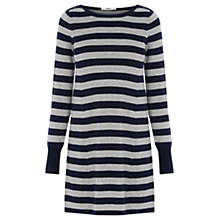 Buy Oasis Stripe Button Tunic Dress, Multi Grey Online at johnlewis.com