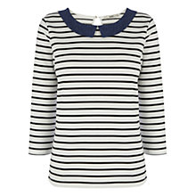 Buy Oasis Chambray Stripe 3/4 Sleeve Top, Off White / Navy Online at johnlewis.com