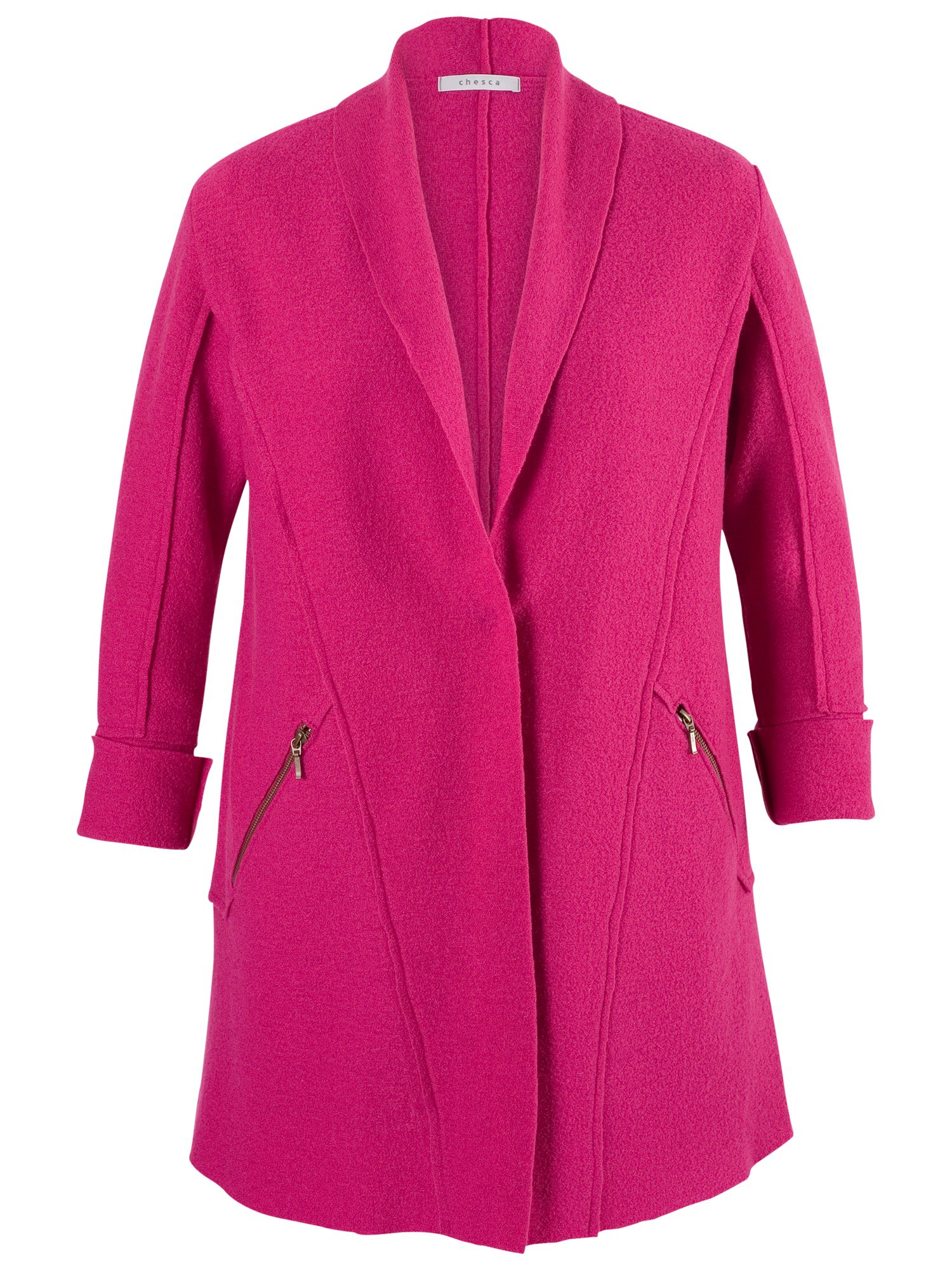 Zip Detail Wool Coat - pattern: plain; collar: shawl/waterfall; fit: loose; style: single breasted; length: mid thigh; predominant colour: hot pink; occasions: casual, creative work; fibres: wool - 100%; sleeve length: 3/4 length; sleeve style: standard; collar break: medium; pattern type: fabric; texture group: woven light midweight; embellishment: zips; season: a/w 2014; wardrobe: highlight; embellishment location: hip