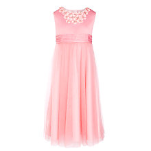 Buy John Lewis Girl Floral Neckline Dress, Coral Online at johnlewis.com