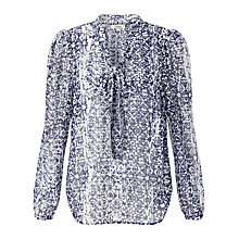 Buy Somerset by Alice Temperley Tile Print Blouse, Navy/Cream Online at johnlewis.com