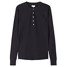 Buy Jigsaw Henley Cotton Rib Long Sleeve Top Online at johnlewis.com