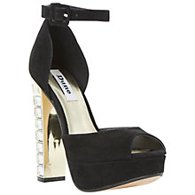Buy Dune Hidihi Suede Peep Toe Occasion Shoes, Black Online at johnlewis.com