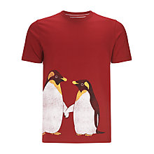 Buy John Lewis Monty & Mabel Penguins Unisex T-Shirt, Red Online at johnlewis.com