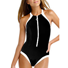 Buy Seafolly Block Party High Neck Maillot Swimsuit, Black Online at johnlewis.com