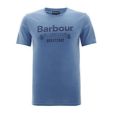 Buy Barbour Greatcoat Protective Logo T-Shirt, Blue Online at johnlewis.com