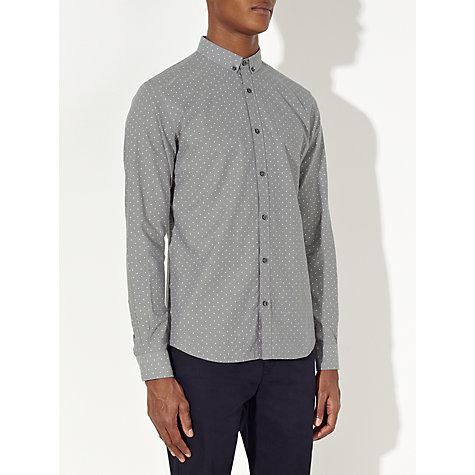 Buy kin by john lewis button down polka dot shirt grey for Button down polka dot shirt