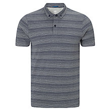 Buy Kin by John Lewis Striped Button Down Polo Shirt, Navy Online at johnlewis.com