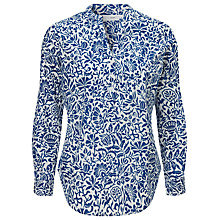 Buy John Lewis Stencil Print Popover Top, White/True Blue Online at johnlewis.com