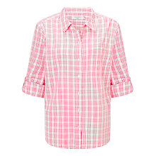 Buy John Lewis Summer Check Shirt, White/Honeysuckle Pink Online at johnlewis.com