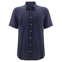 Buy Barbour Laundryman Lawrence Laundered Short Sleeve Shirt, Navy Online at johnlewis.com
