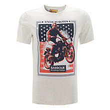 Buy Barbour International Steve McQueen Poster T-Shirt, White Online at johnlewis.com