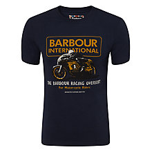 Buy Barbour Motorcycle Racing Graphic Print T-Shirt, Navy Online at johnlewis.com