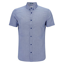 Buy Kin by John Lewis Grid Print Short Sleeved Cotton Shirt, Navy Online at johnlewis.com