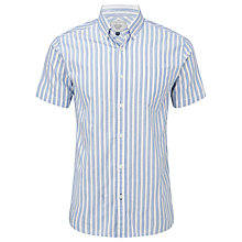 Buy John Lewis Short Sleeve Stripe Oxford Shirt, Blue/White Online at johnlewis.com