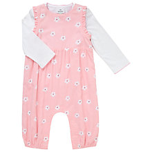 Buy John Lewis Baby Floral Cord Dungaree & Jersey Set, Pink Online at johnlewis.com
