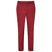Buy John Lewis Laundered Slim Cotton Chinos, Dark Red Online at johnlewis.com