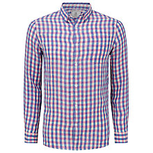 Buy John Lewis Laundered Linen Check Shirt, Blue/Pink Online at johnlewis.com