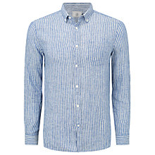 Buy John Lewis Track Stripe Linen Shirt, Cobalt Blue Online at johnlewis.com