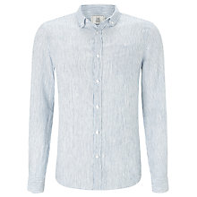 Buy John Lewis Fine Stripe Linen Shirt, Cobalt Blue Online at johnlewis.com