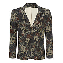Buy JOHN LEWIS & Co. Floral Japanese Linen Blazer, Khaki/Multi Online at johnlewis.com