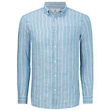 Buy John Lewis Shadow Stripe Linen Shirt, Blue/Pink Online at johnlewis.com
