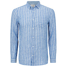 Buy John Lewis Wide Stripe Linen Shirt, Cobalt Online at johnlewis.com