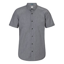 Buy Kin by John Lewis Fine Stripe Short Sleeve Shirt, Charcoal Online at johnlewis.com