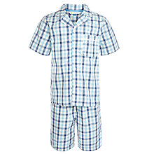 Buy John Lewis Boy Short Sleeve Gingham Print Pyjamas, Blue Online at johnlewis.com
