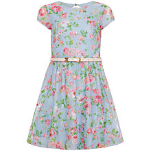 Buy Yumi Girl Rose Print Lace Dress, Blue/Multi Online at johnlewis.com