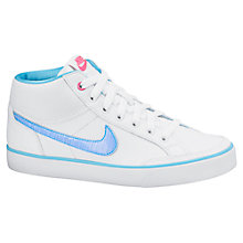 Buy Nike Children's Capri 3 Sports Trainers, White/Blue Online at johnlewis.com