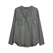 Buy Violeta by Mango Flap Chest Pocket Blouse, Medium Grey Online at johnlewis.com