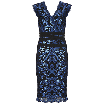 Gina Bacconi Sequin Scroll Dress, Navy
