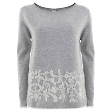 Buy Mint Velvet Flocked Hem Knitted Jumper, Silver & Ecru Online at johnlewis.com