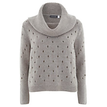 Buy Mint Velvet Holey Boxy Knitted Jumper, Mink Online at johnlewis.com