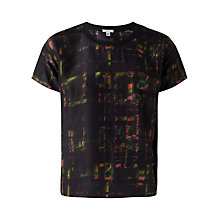 Buy Jigsaw Neon Check Silk T-Shirt, Multi Online at johnlewis.com