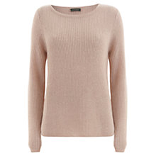 Buy Mint Velvet Powder Boxy Rib Knitted Jumper, Pale Pink Online at johnlewis.com