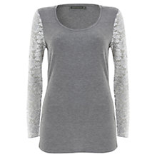 Buy Mint Velvet Lace Sleeve Top, Silver Grey Online at johnlewis.com