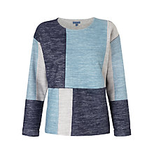 Buy Jigsaw Denim Patchwork Sweatshirt, Blue Online at johnlewis.com